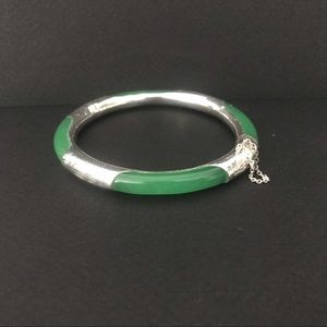 Nephrite and Sterling Silver Bangle